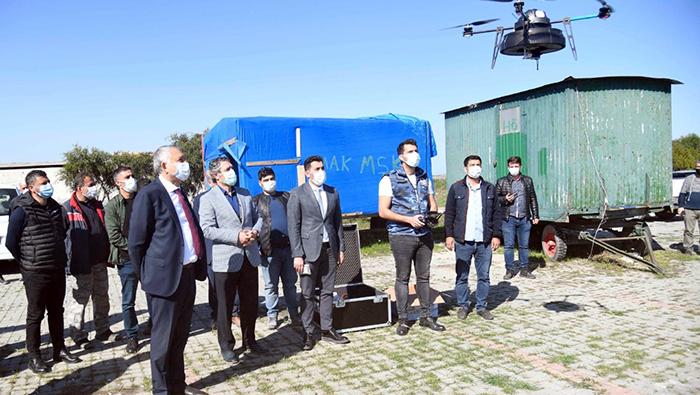 Adana'da dronla ilaçlama başladı...