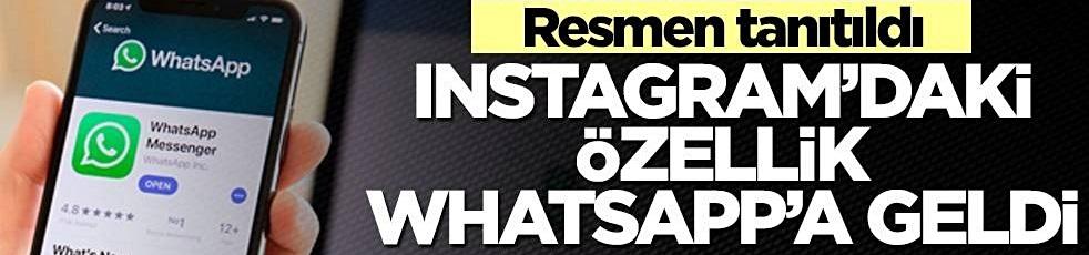 Instagram'daki özellik WhatsApp'a da geldi! Resmen tanıtıldı!