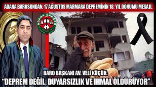 Adana Barosundan deprem uyarısı...