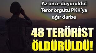 PKK'ya ağır darbe! 48 terörist etkisiz hale getirildi