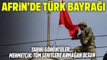 Afrin şehir merkezine Türk bayrağı asıldı