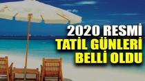 2020 yılında kaç gün tatil olacak?